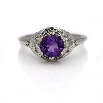Art Deco Amethyst Engagement Ring