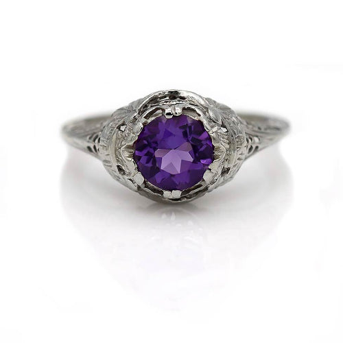 Art Deco 1.25 Carat Amethyst Engagement Ring