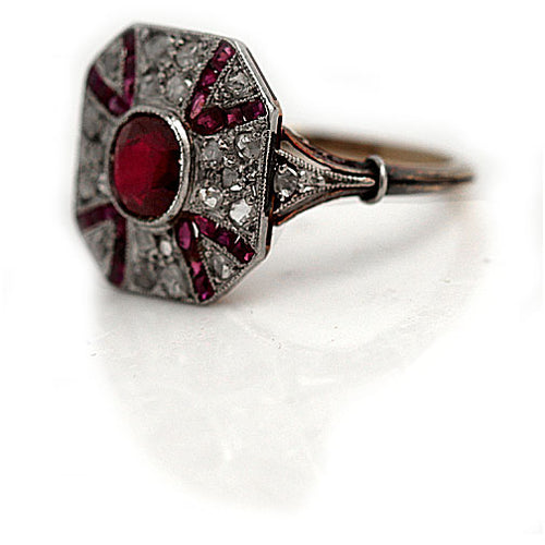 Early Art Deco Synthetic Ruby and Diamond Engagement Ring