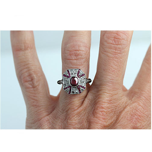 Early Art Deco Ruby and Diamond Engagement Ring