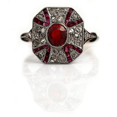 Art Nouveau Ruby and Diamond Engagement Ring