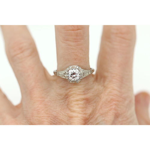Intricate Solitaire Diamond Engagement Ring