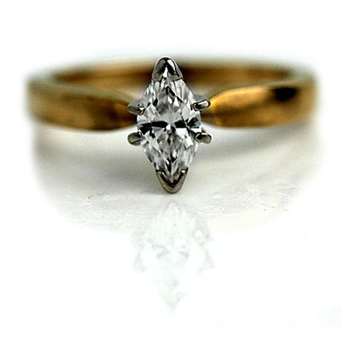 Estate Marquis .55 Carat Solitaire Diamond Ring
