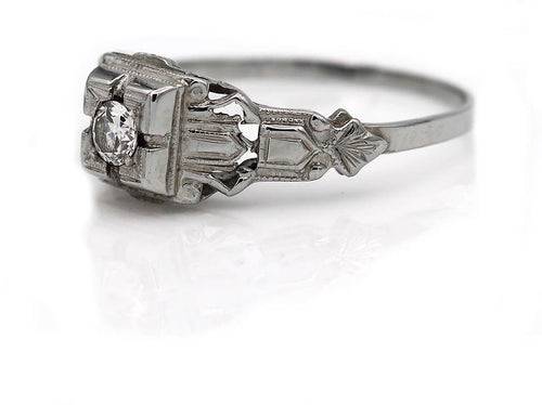 Art Deco .15 Carat Diamond Engagement Ring