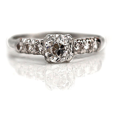 Mine Cut Diamond Engagement Ring