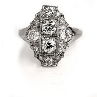 Antique Diamond Dinner Ring in Platinum