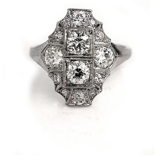 Art Deco Diamond Dinner Ring in Platinum