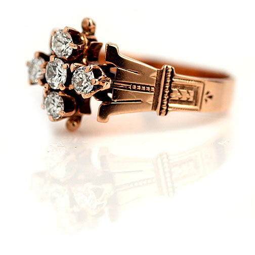 Rose Gold 5 Diamond Engagement Ring