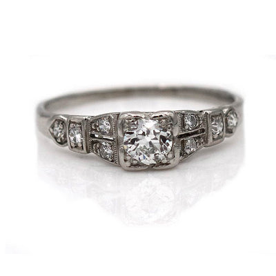 Old Mine Cut Diamond Engagement Ring with Side Stones