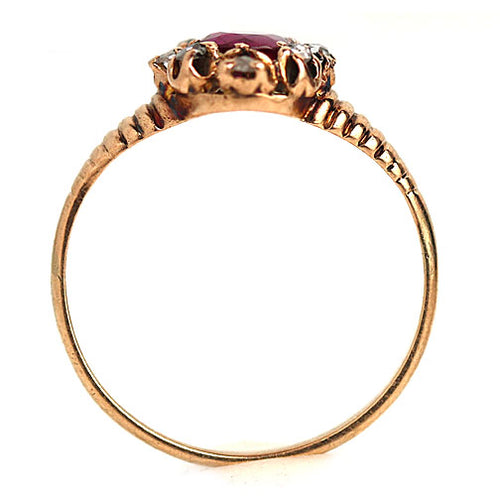 Vintage Burma Ruby and Rose Cut Diamond Engagement Ring