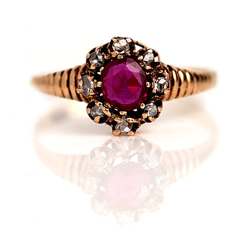 Burma Ruby & Rose Cut Diamond Halo Engagement Ring