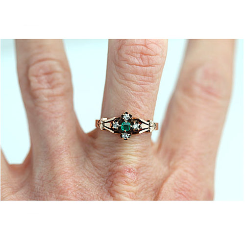 Victorian Emerald & Diamond Engagement Ring