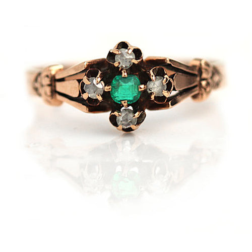 Victorian Emerald and Rose Cut Diamond Ring in 10 Kt Rose Gold