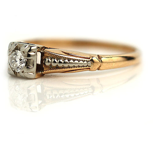 Vintage Two Tone Diamond Engagement Ring Circa 1940's