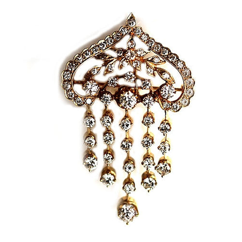 Mid-Century Diamond Drop Brooch 4.00 Carat