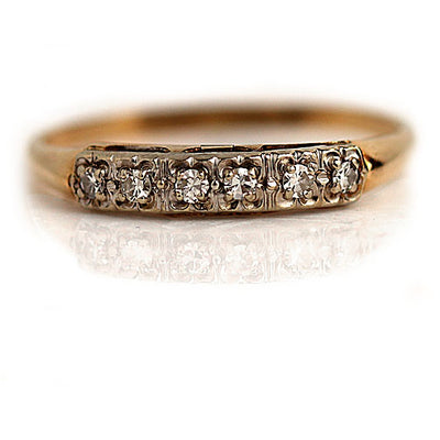 Vintage Two Tone Diamond Wedding Band