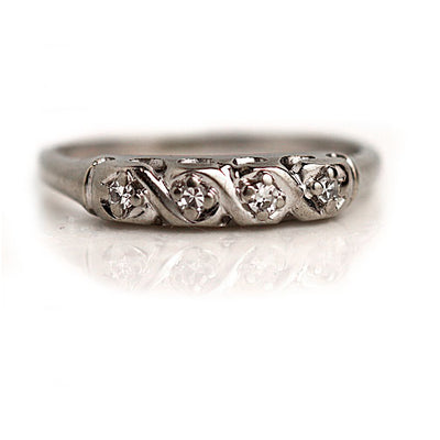 Antique White Gold Diamond Wedding Band