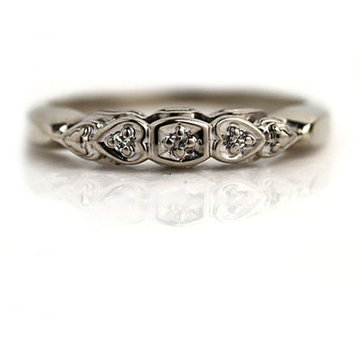 Vintage Diamond Wedding Band with Heart Motif
