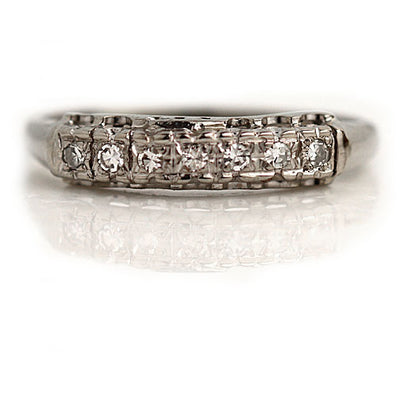 Antique Diamond Stacking Wedding Band