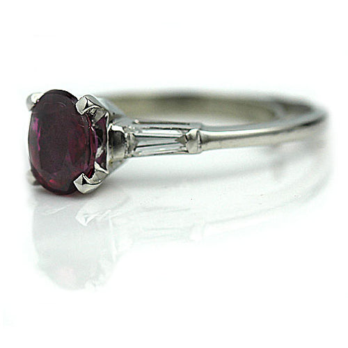 Natural Ruby Engagement Ring with Side Baguette Diamonds