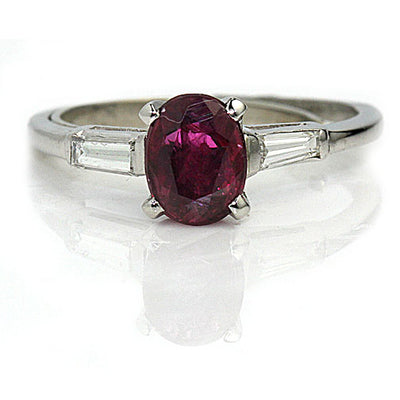 Vintage Ruby Engagement Ring with Baguette Diamonds - Vintage Diamond Ring