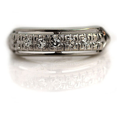 Vintage Half Diamond Wedding Band