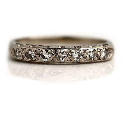Vintage White Gold Diamond Stacking Band