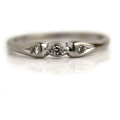 Antique Navette White Gold Wedding Band