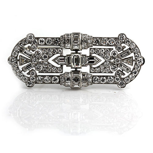 Art Deco Platinum Diamond Brooch 6.50 Carat