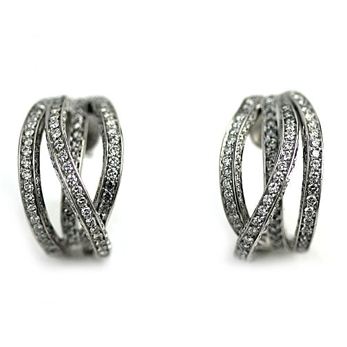 Estate Hoop Diamond Platinum Earrings 4.50 Carat