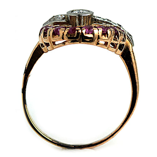 Retro Ruby Diamond Rose Gold Ring