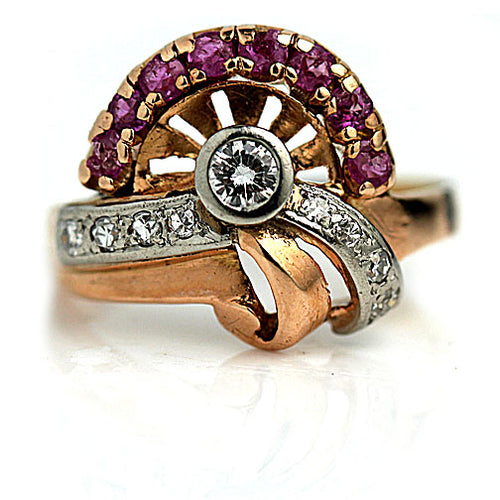 Retro Ruby & Diamond Half Asymmetrical Engagement Ring