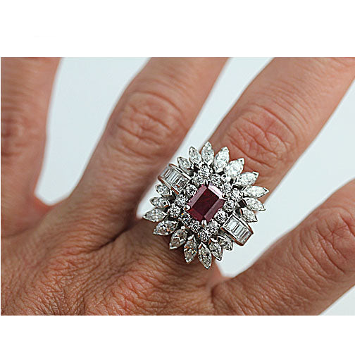Natural Ruby Engagement Ring with Diamond Cluster