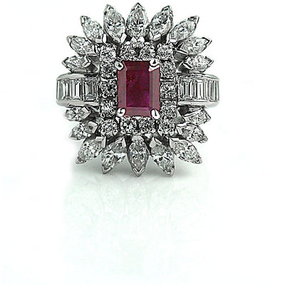 Natural Ruby Engagement Ring with Diamond Cluster - Vintage Diamond Ring