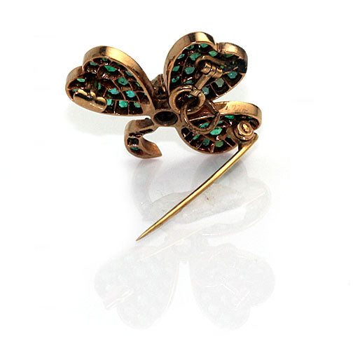 Emerald and Diamond Three Leaf Clover Brooch