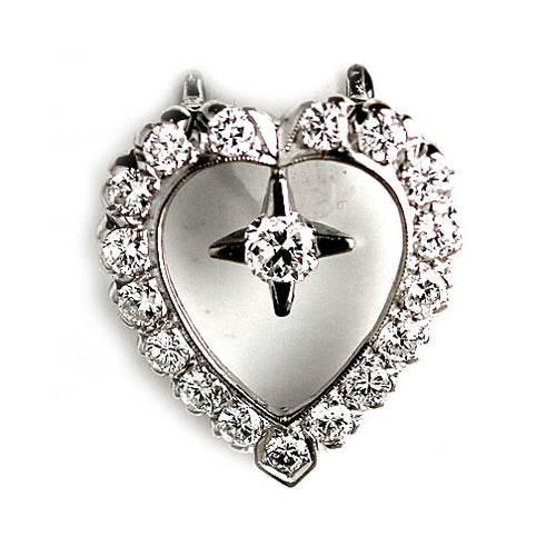 Estate Diamond Heart Pendant .40 Carat