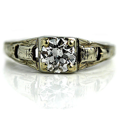 Antique Square Solitaire Engagement Ring