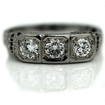Unique Three Diamond Engagement Ring