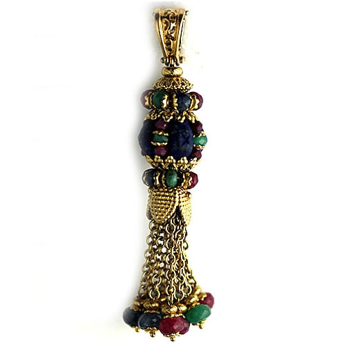 Vintage Style Carved Sapphire Ruby Emerald Dangling Pendant