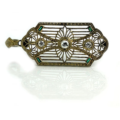 Antique Diamond Emerald Brooch Signed T.C Shop - Vintage Diamond Ring