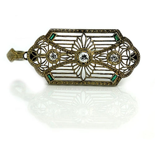 Antique Diamond Emerald Brooch Signed T.C Shop