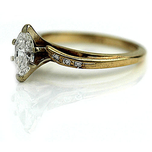 Estate 14 Kt Yellow Gold Marquis Diamond Ring