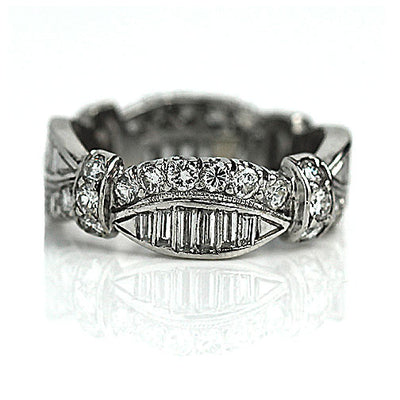 Vintage North-South Baguette & Round Diamond Eternity Band