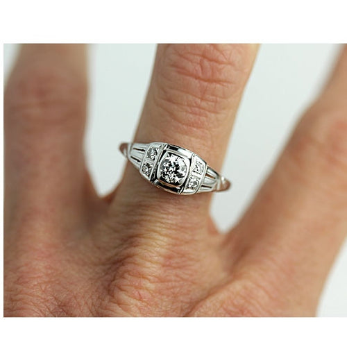 .45 Carat White Gold Antique Engagement Ring