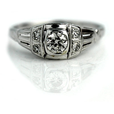 Bezel Set European Cut Diamond Engagement Ring