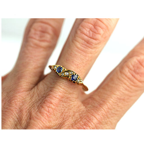 Antique Sapphire Rose Cut Diamond Wedding Band