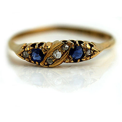 Antique Sapphire & Rose Cut Diamond Wedding Band - Vintage Diamond Ring
