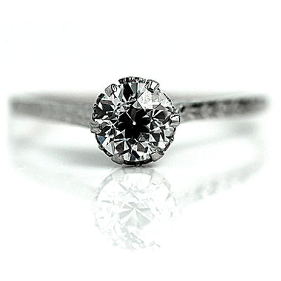 Thin Band Filigree Engagement Ring