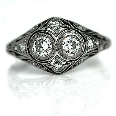 Art Deco Bezel Set Twin Diamond Engagement Ring