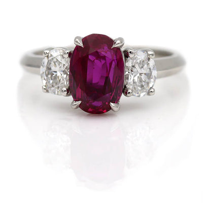 Exceptional Vintage 2.90 Carat AGL Burma Ruby and Diamond Engagement Ring